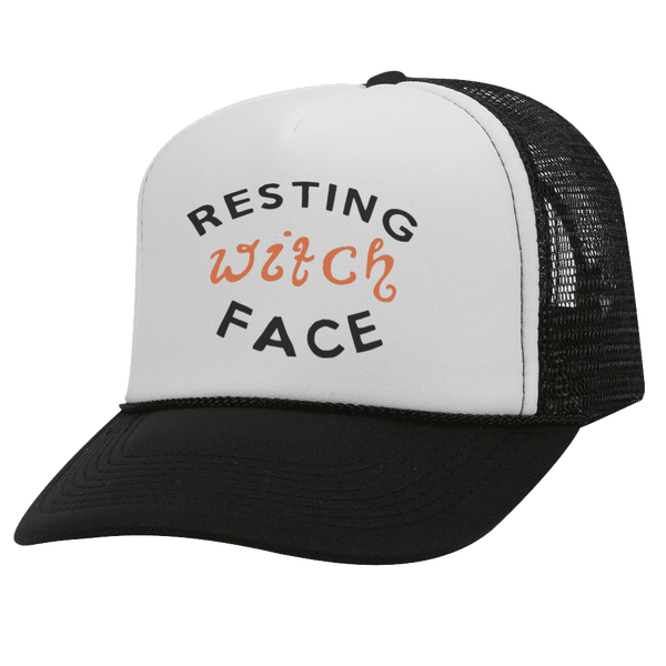 Resting Witch Face BW Halloween Trucker Hat