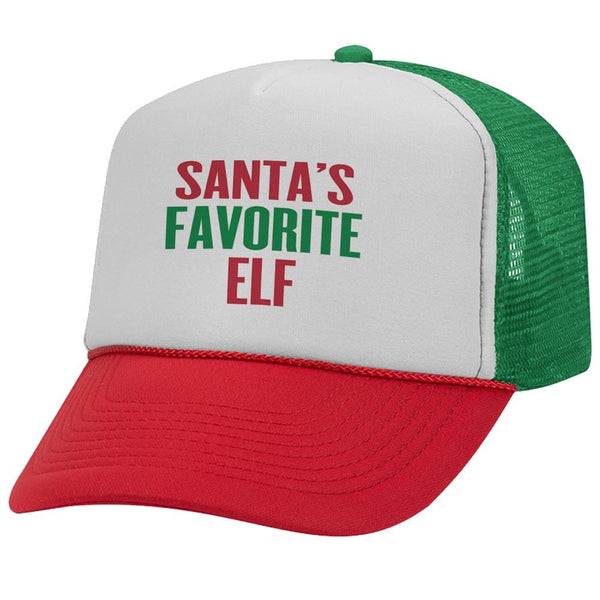 Santa's Favorite Elf Christmas Vinyl Trucker Hat