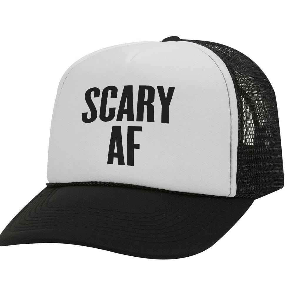 Scary AF BW Halloween Trucker Hat