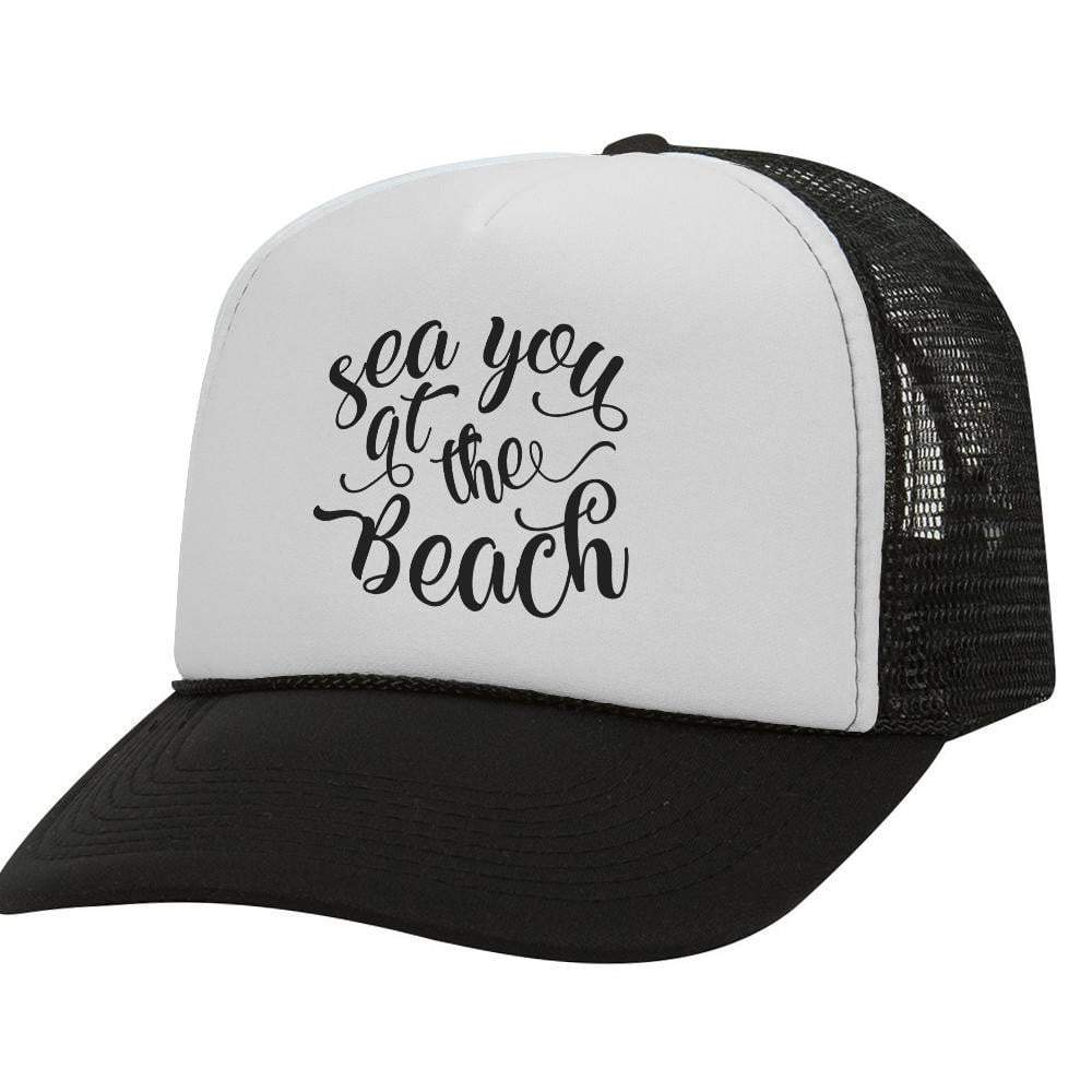 Sea You At The Beach BW Trucker Hat