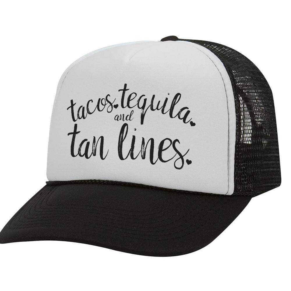 Tacos Tequila Tan Lines BW Trucker Hat