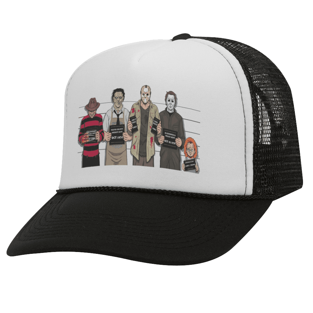 USUAL SUSPECTS BW Halloween Trucker Hat