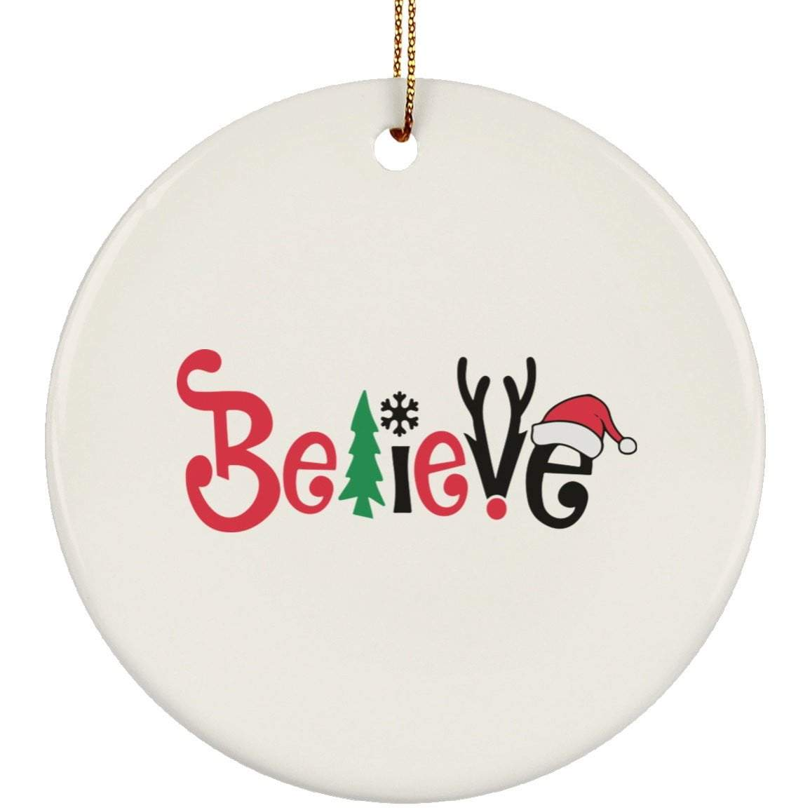 BELIEVE Christmas Ceramic Circle Ornament