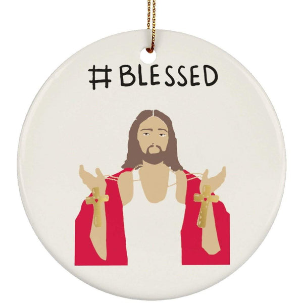 #BLESSED Christmas Ceramic Circle Ornament
