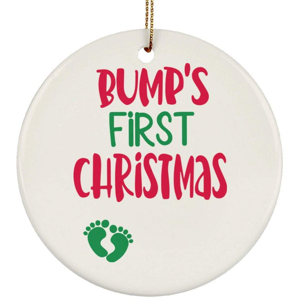 BUMPS FIRST CHRISTMAS Christmas Ceramic Circle Ornament