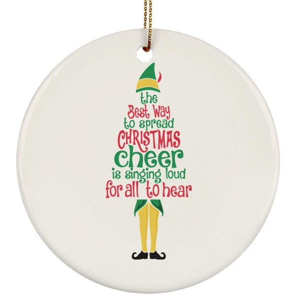 CHRISTMAS CHEER Christmas Ceramic Circle Ornament