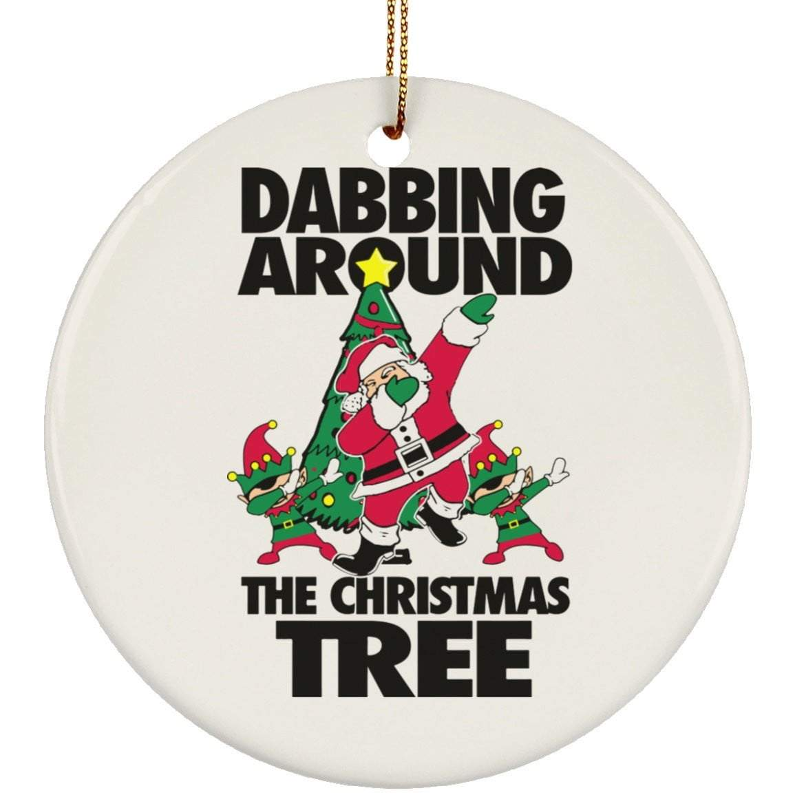 DABBING AROUND TREE Christmas Ceramic Circle Ornament