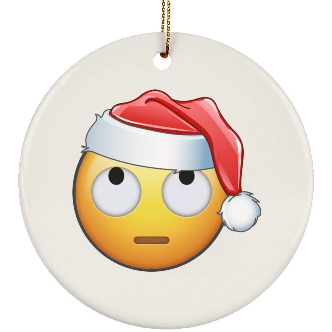 Eye Roll Emoji Christmas Ceramic Circle Ornament