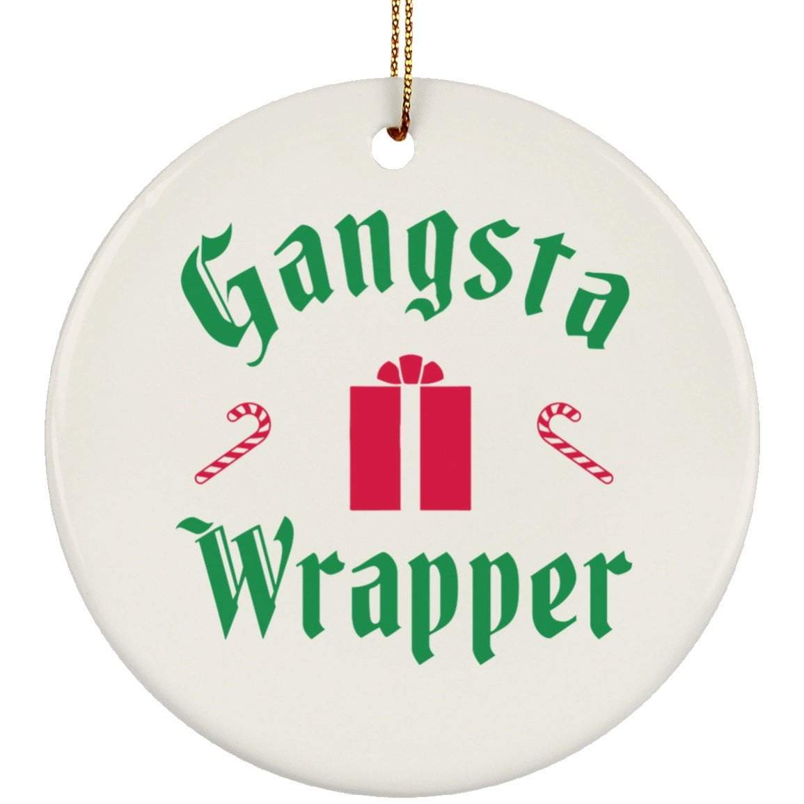 GANSTA WRAPPER Christmas Ceramic Circle Ornament