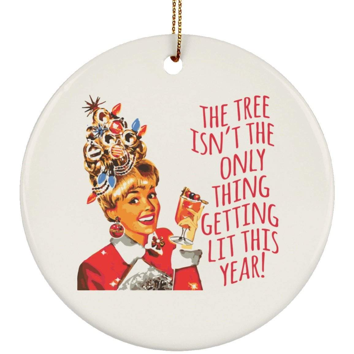 GETTING LIT VINTAGE Christmas Ceramic Circle Ornament