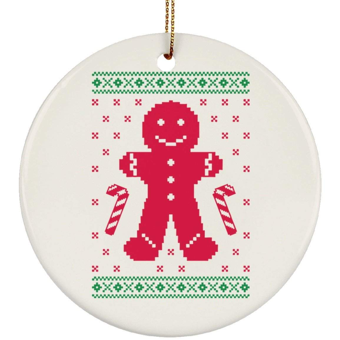 GINGERBREAD SWEATER Christmas Ceramic Circle Ornament