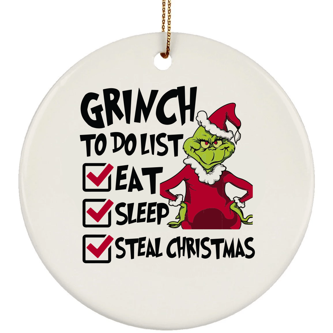 Grinch Check List Christmas Ceramic Circle Ornament