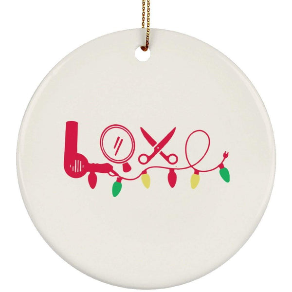 HAIRSTYLIST LOVE Christmas Ceramic Circle Ornament