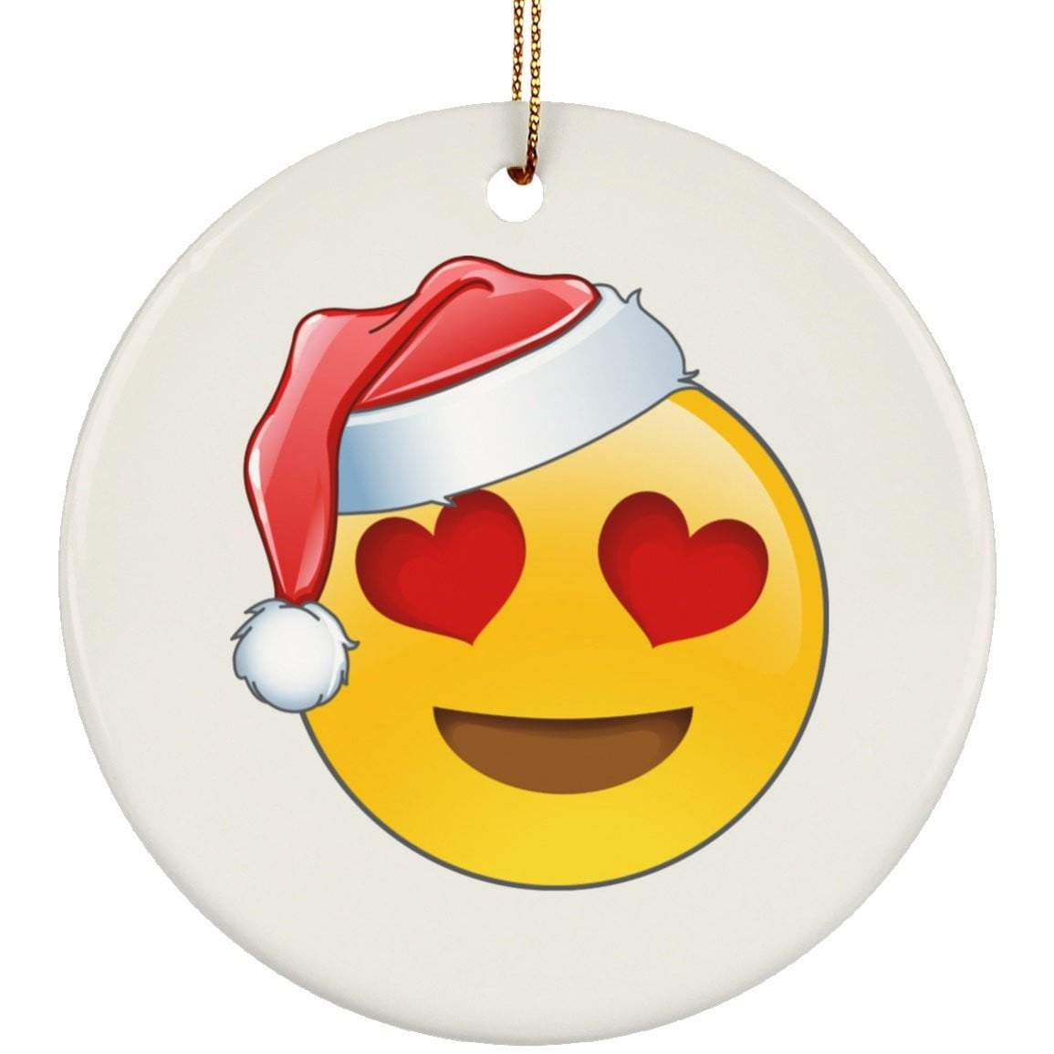Heart Eyes Emoji Christmas Ceramic Circle Ornament
