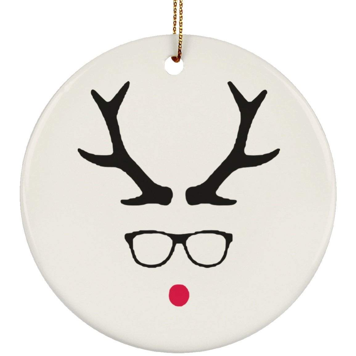 HIPSTER RUDOLPH Christmas Ceramic Circle Ornament