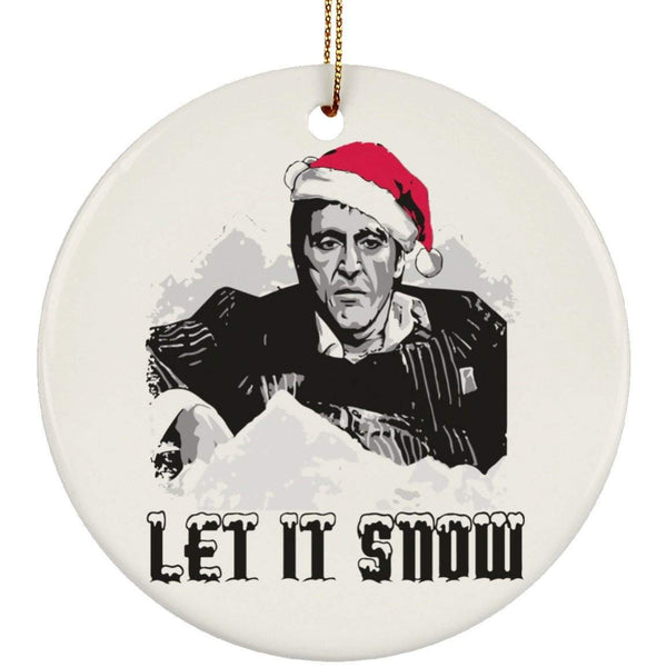 LET IT SNOW Christmas Ceramic Circle Ornament