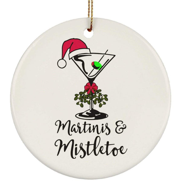 MARTINIS AND MISTLETOE Christmas Ceramic Circle Ornament