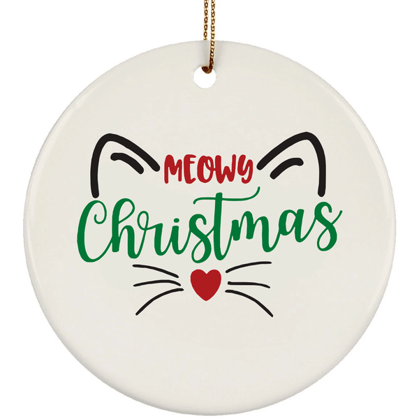 MEOWY CHRISTMAS Christmas Ceramic Circle Ornament