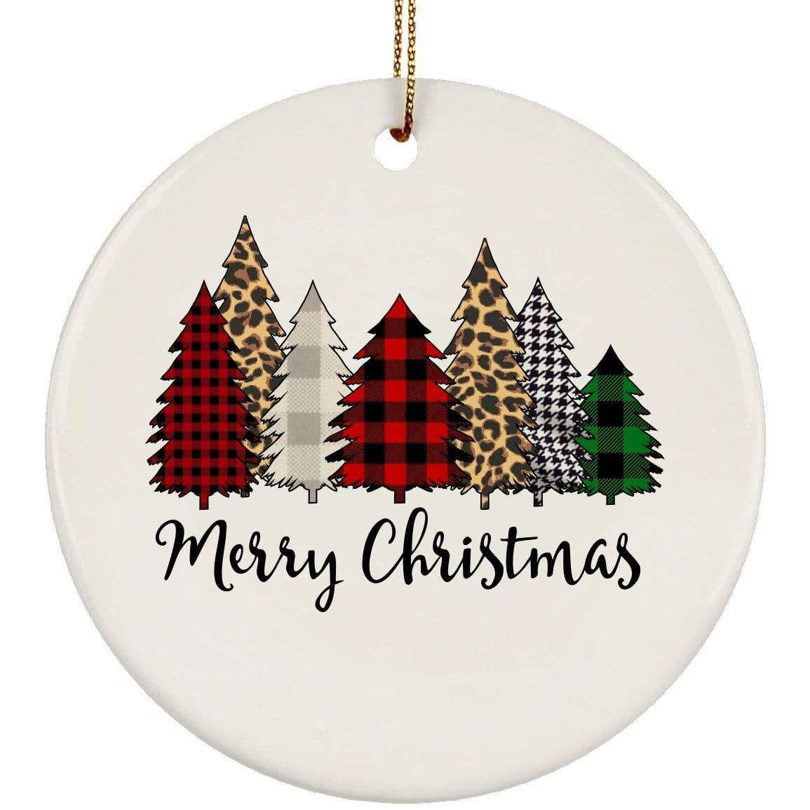 Merry Christmas Trees Christmas Ceramic Circle Ornament