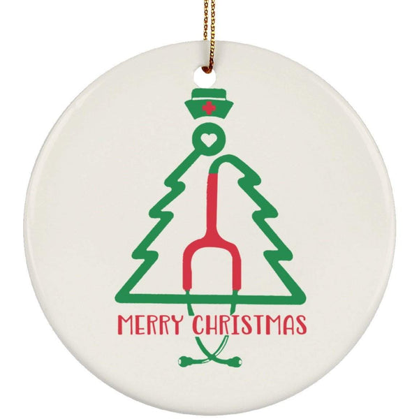 TREE MERRY CHRISTMAS Christmas Ceramic Circle Ornament