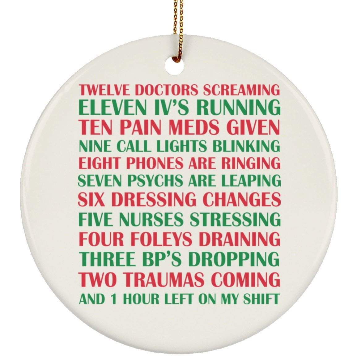 TWELVE DOCTORS SCREAMING Christmas Ceramic Circle Ornament