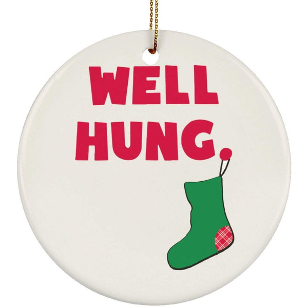 WELL HUNG Christmas Ceramic Circle Ornament