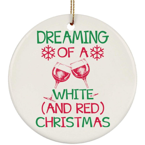 WHITE AND RED CHRISTMAS Christmas Ceramic Circle Ornament