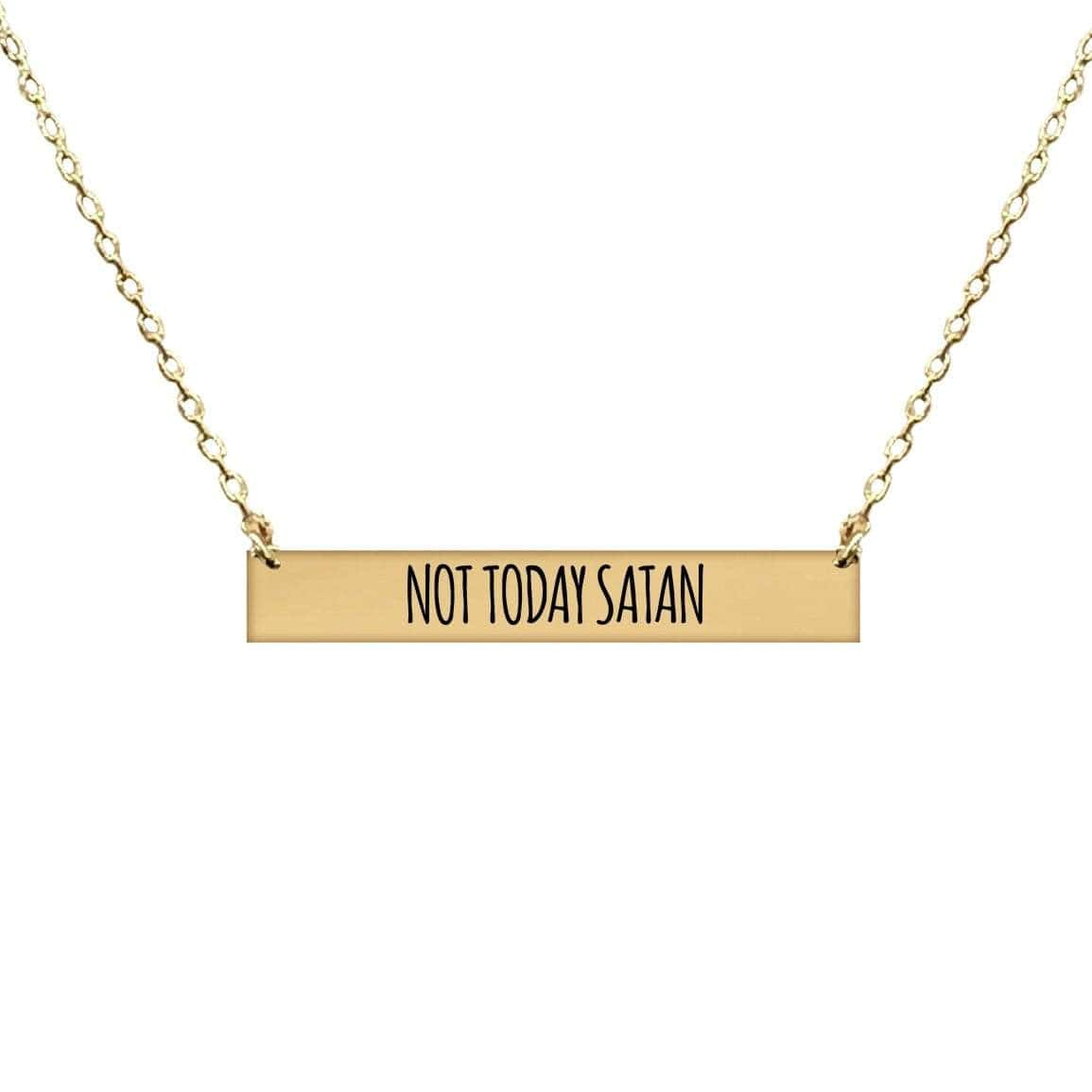 NOT TODAY SATAN BAR NECKLACE