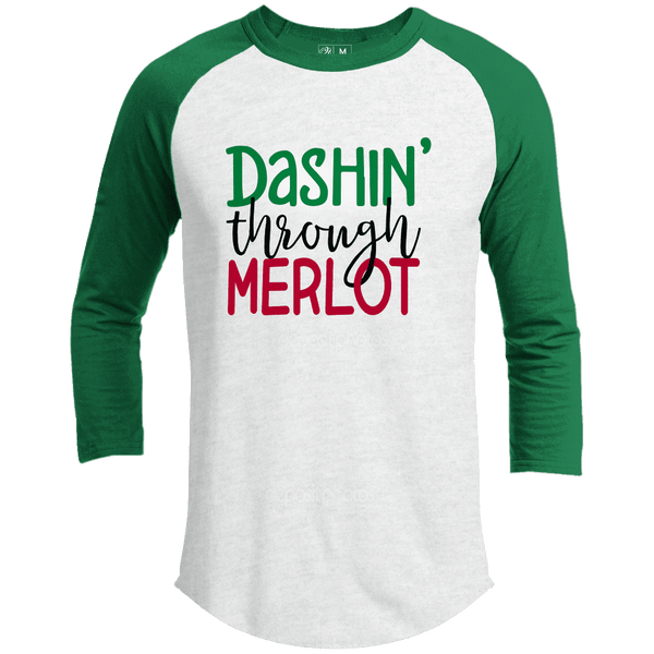 DASHIN THROUGH MERLOT Premium Christmas Raglan