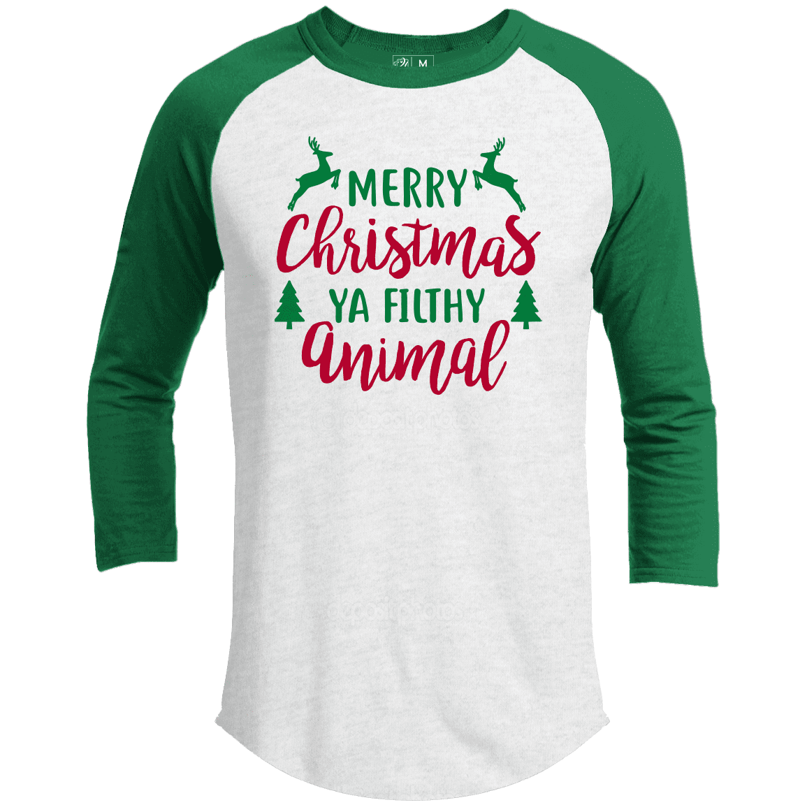MERRY CHRISTMAS YA FILTHY ANIMAL Premium Christmas Raglan