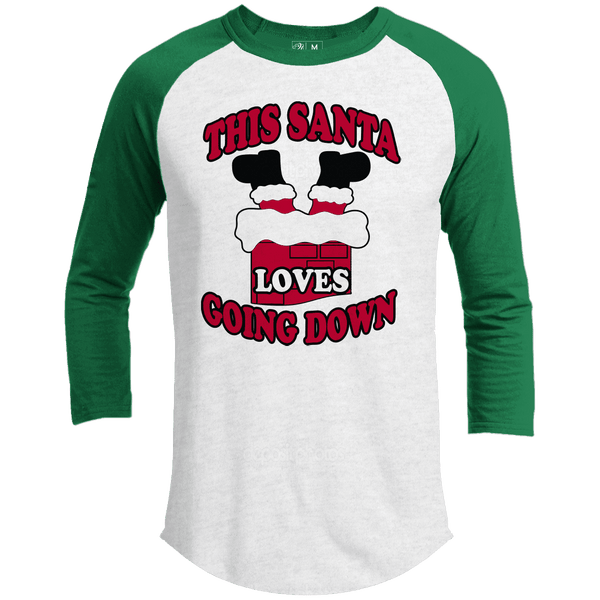THIS SANTA LOVES GOING DOWN Premium Christmas Raglan