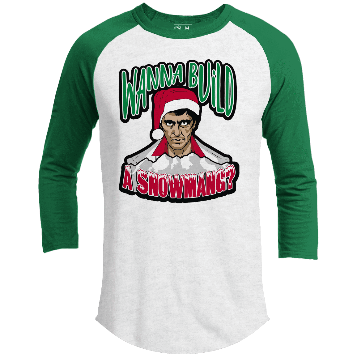 WANNA BUILD A SNOWMANG Premium Christmas Raglan