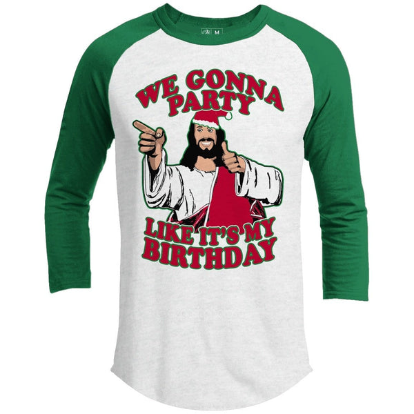 We Gonna Party Premium Christmas Raglan