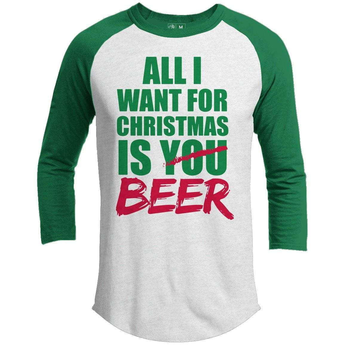 All I Want Beer Premium Christmas Raglan