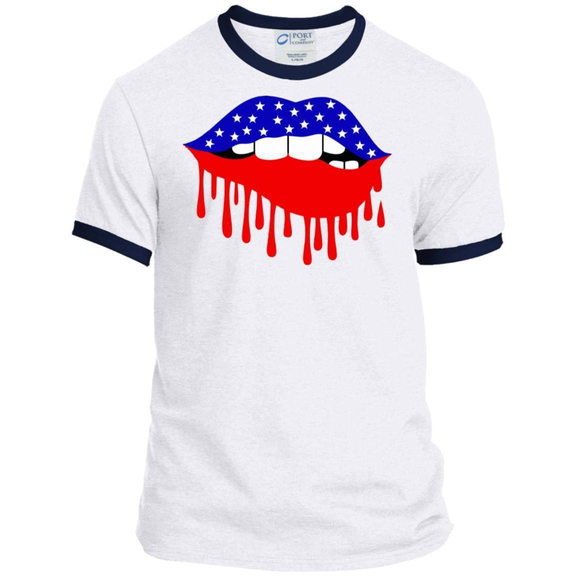 AMERICAN FLAG LIPS 4th of July Ringer T