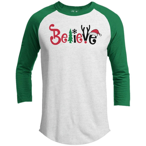 BELIEVE Premium Youth Christmas Raglan