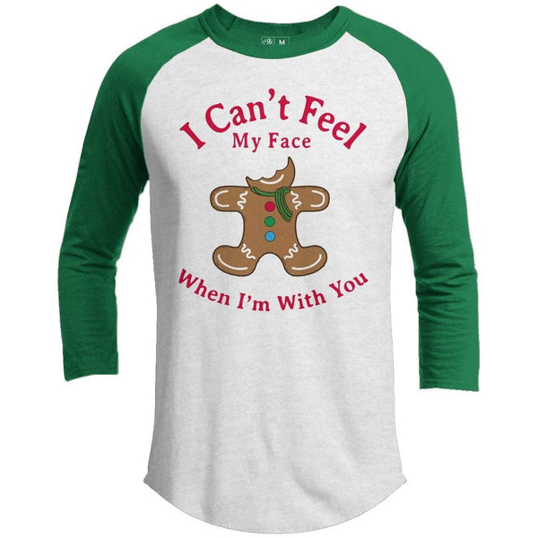 CAN'T FEEL MY FACE Premium Youth Christmas Raglan
