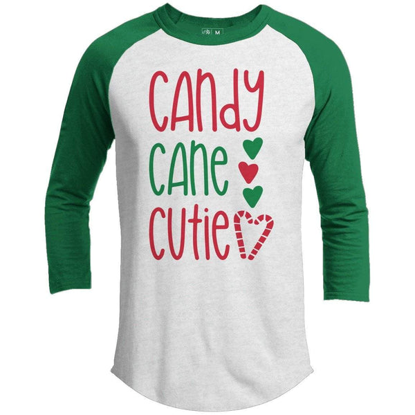 Candy Cane Cutie Premium Youth Christmas Raglan