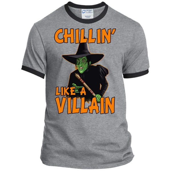 CHILLIN LIKE A VILLAIN - WICKED WITCH Halloween Ringer Tee