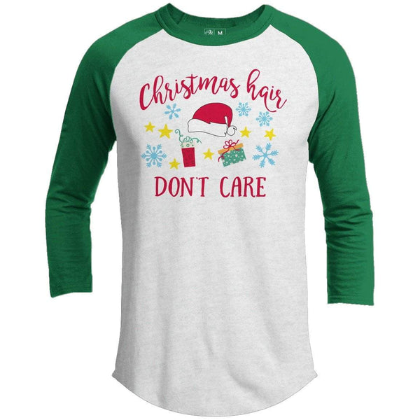 CHRISTMAS HAIR DON'T CARE Premium Youth Christmas Raglan