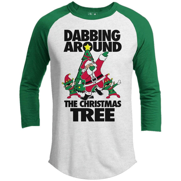 Dabbing Around The Tree Premium Christmas Raglan