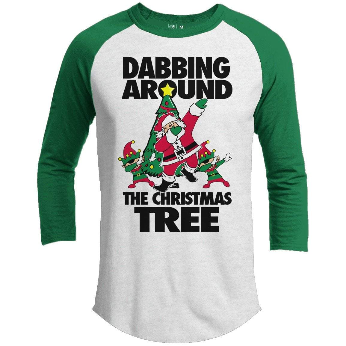 DABBING AROUND TREE Premium Youth Christmas Raglan