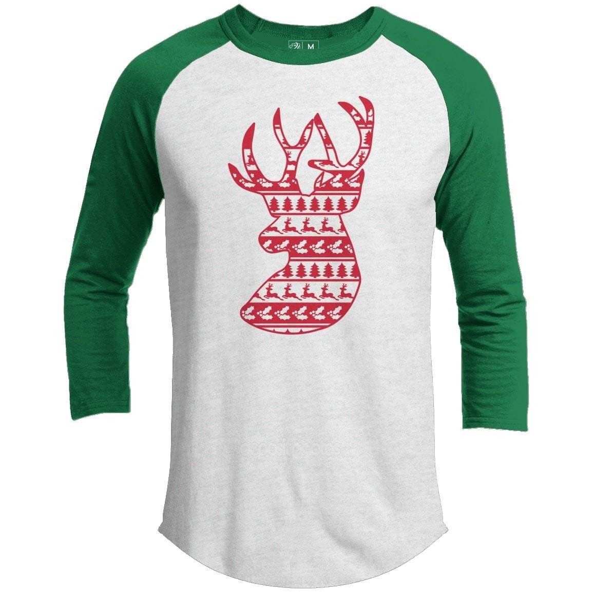 DEER HEAD Premium Youth Christmas Raglan