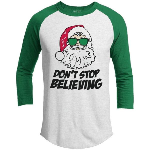 DON'T STOP BELIEVING Premium Youth Christmas Raglan