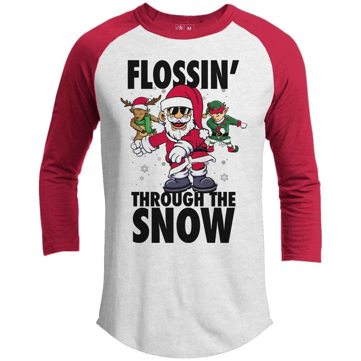 FLOSSIN THROUGH THE SNOW Premium Youth Christmas Raglan