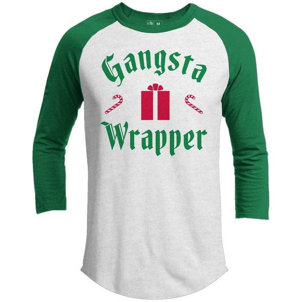 Gangsta Wrapper Premium Christmas Raglan