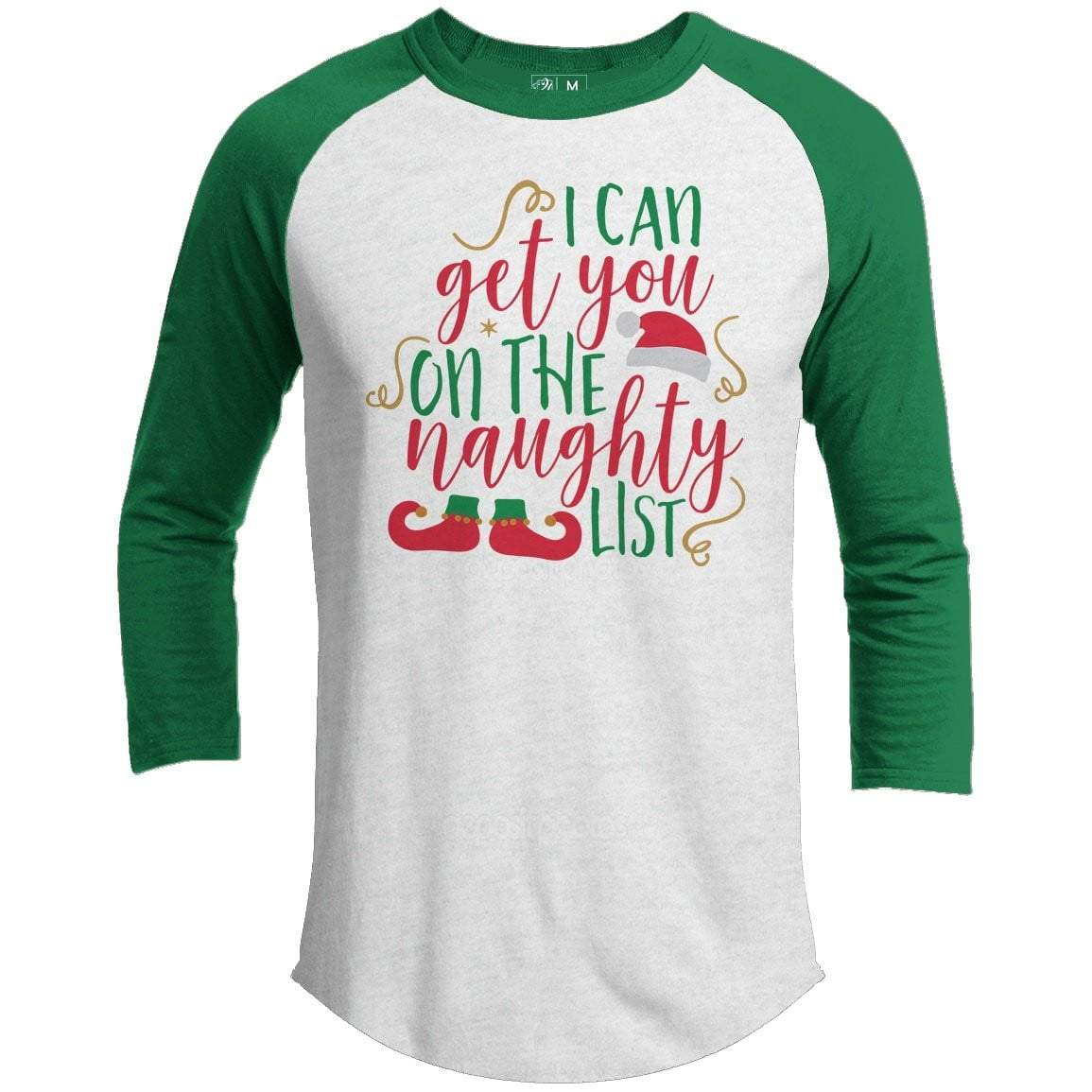 Get You On The Naughty List Premium Youth Christmas Raglan