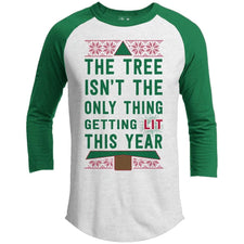 T-Shirts - Getting Lit Premium Christmas Raglan