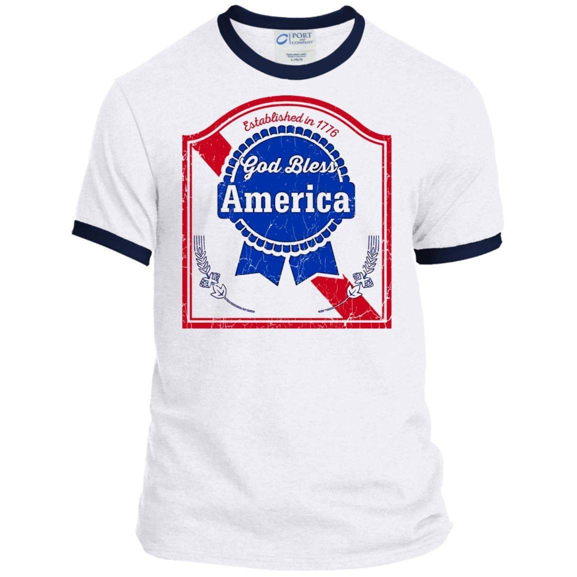 GOD BLESS AMERICA 4th of July Ringer T