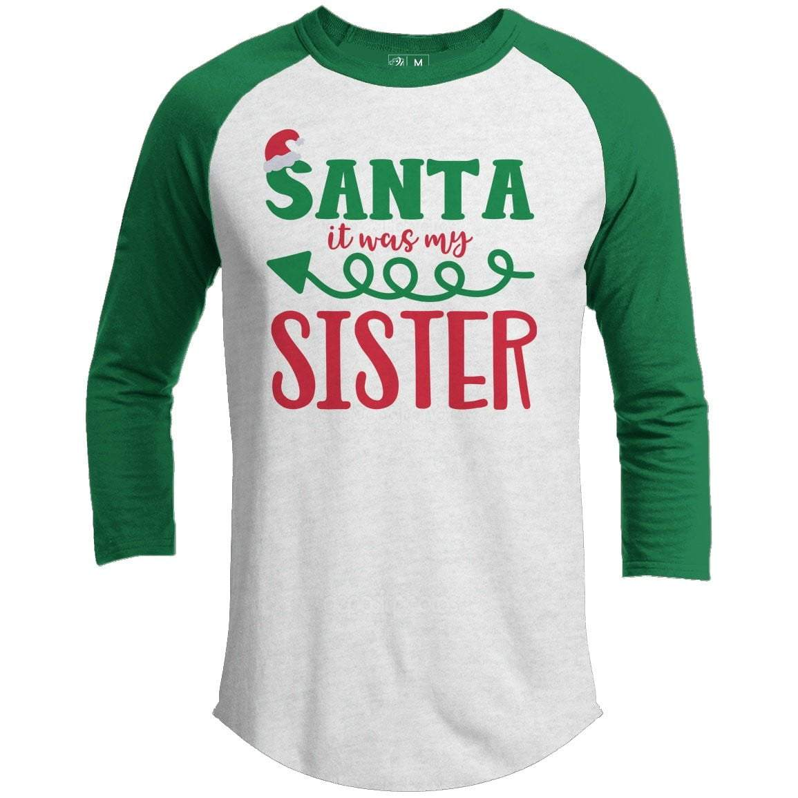 IT WAS MY SISTER Premium Youth Christmas Raglan